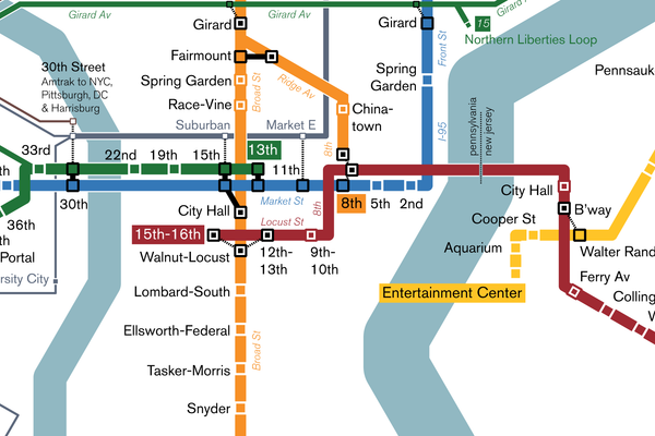 Philadelphia SEPTA rapid transit map