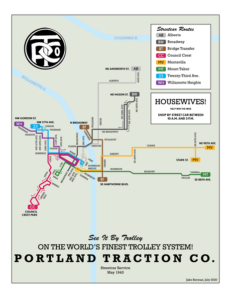 Portland Traction Co streetcar system map, 1943