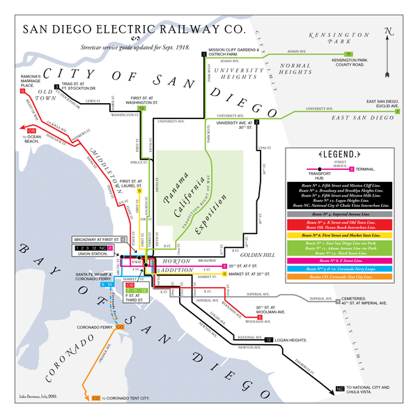 San Diego Electric Railway system map, 1918