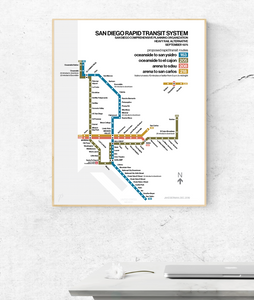 San Diego subway proposal map print, 1975