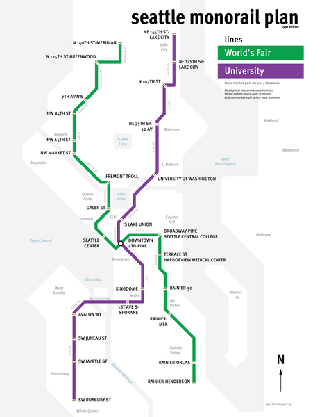 Seattle Monorail Project map proposal - 1997