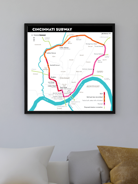 Cincinnati subway map print