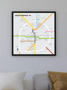 Atlanta freeway map print