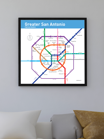 San Antonio freeway map print