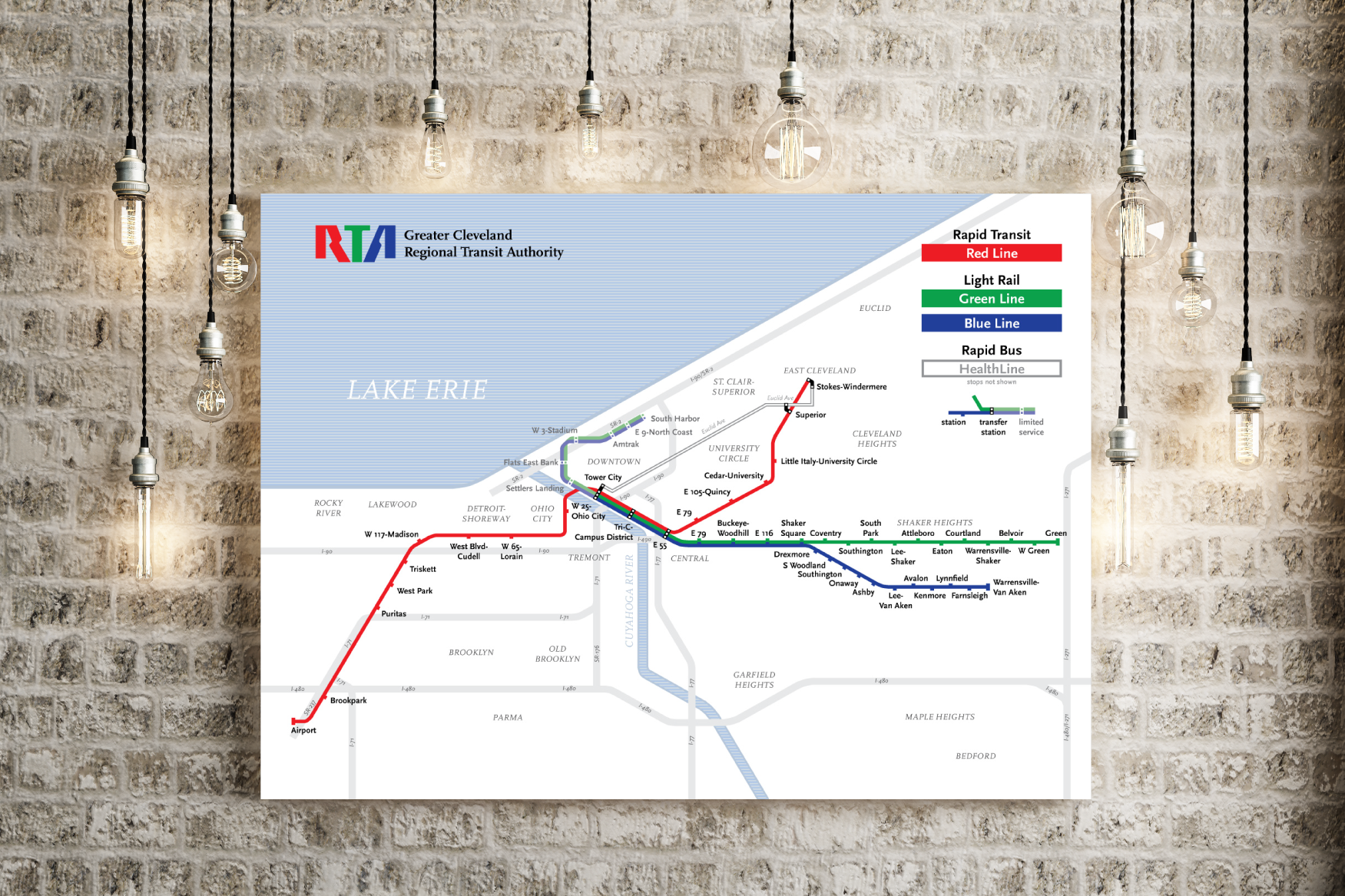 Greater Cleveland RTA map print
