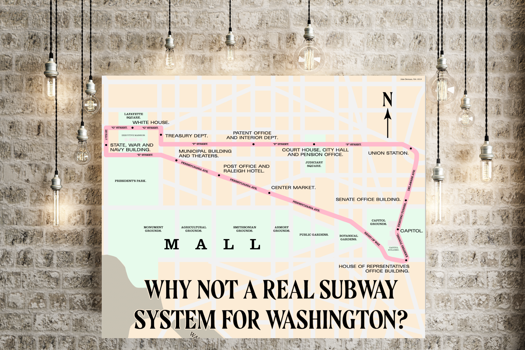 Washington, DC proposed subway map, 1909