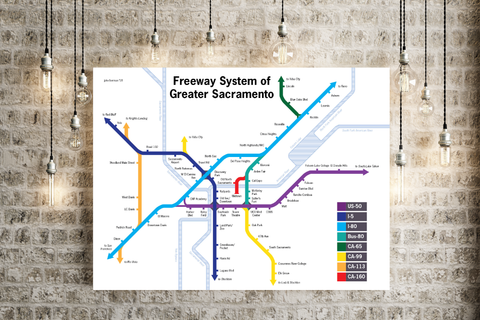 Sacramento freeway map print
