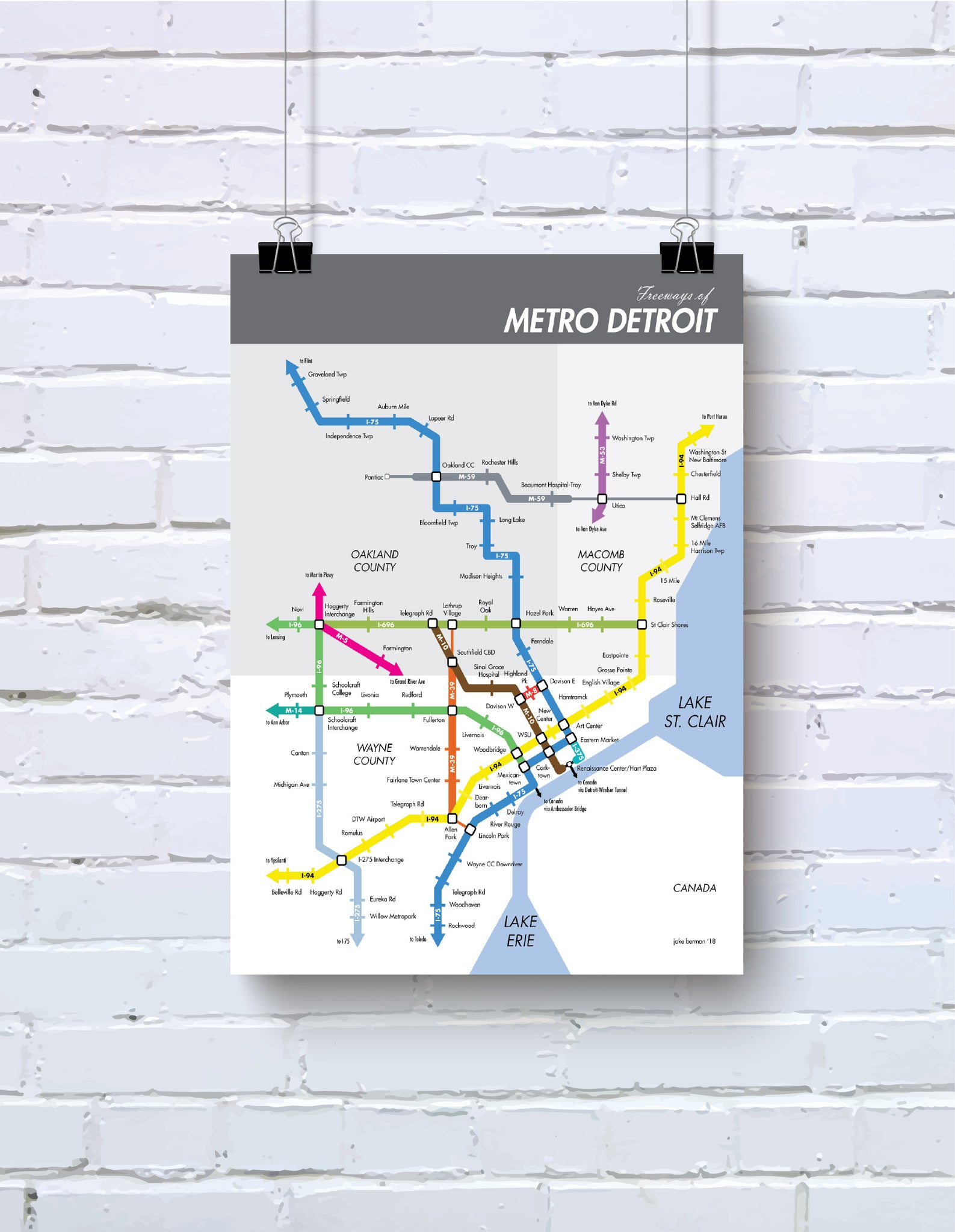 Detroit freeways map print