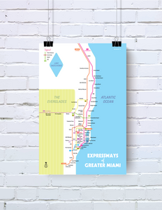 Miami expressway system map print