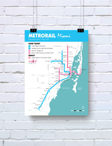 Miami Metrorail planned system map, 1979