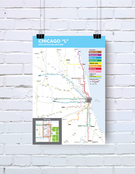 Chicago L and connecting railways map poster