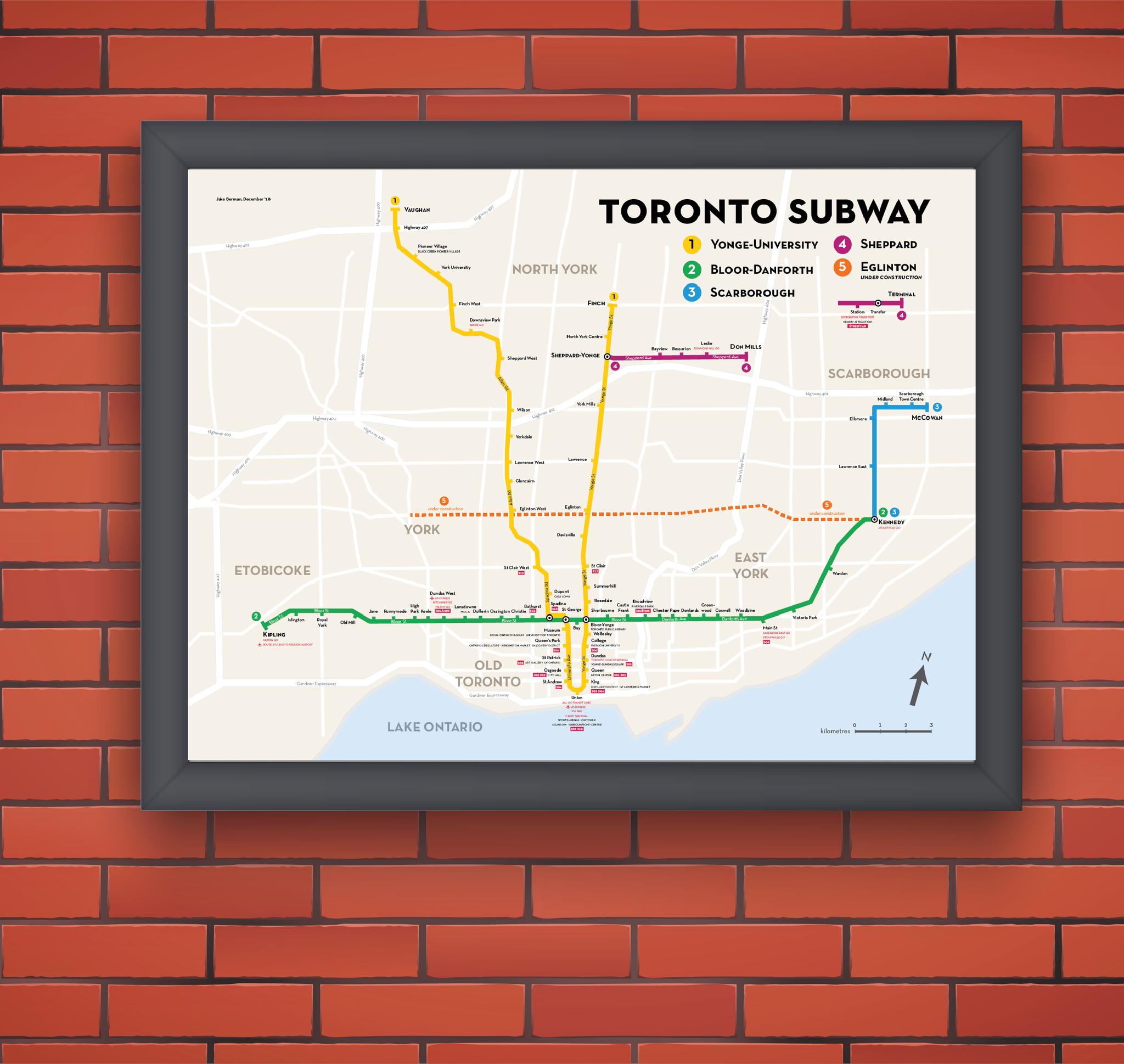 Toronto Subway Map Print.Toronto Subway Map Print Fifty Three Studio