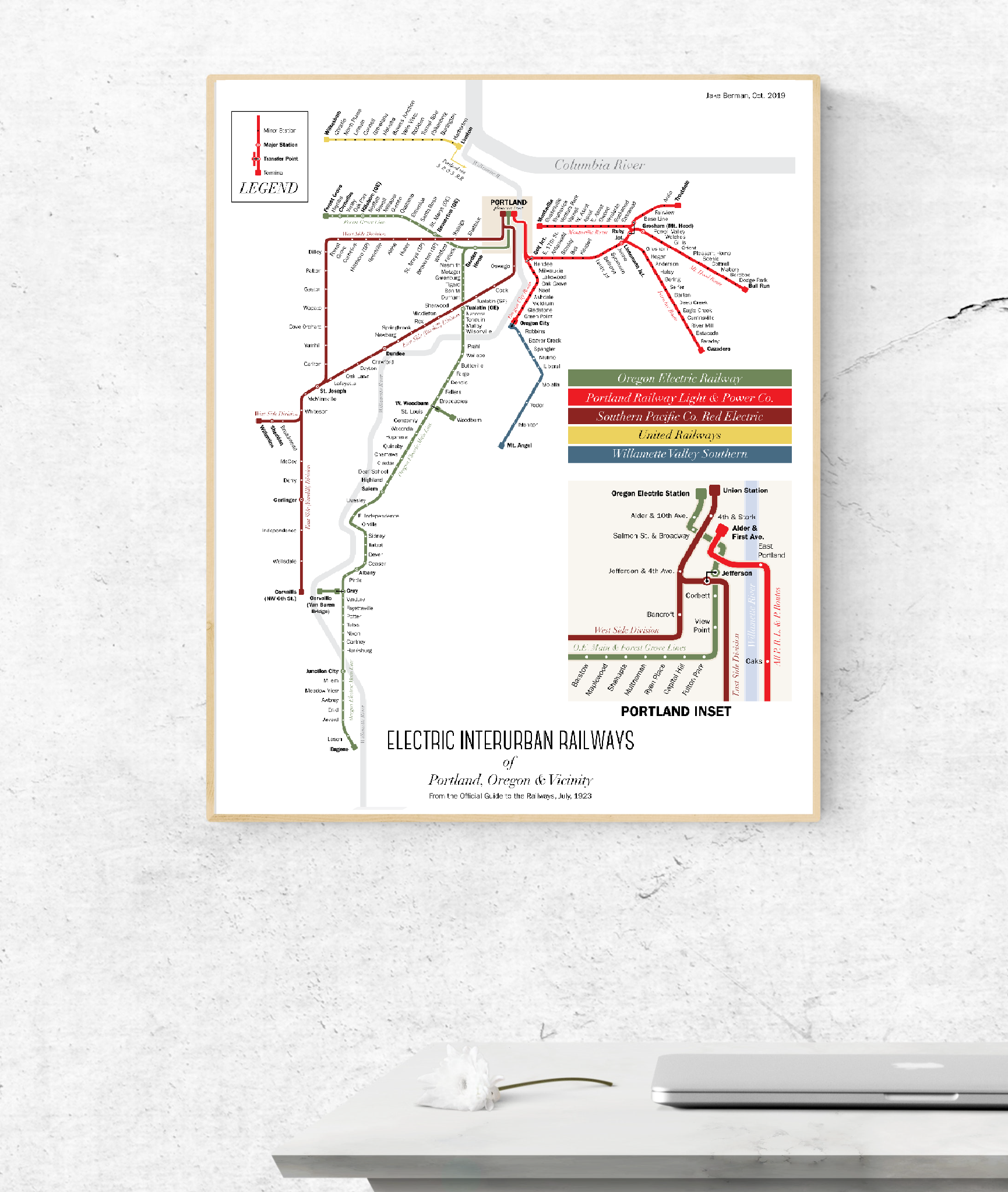 Portland light rail system map, 1923