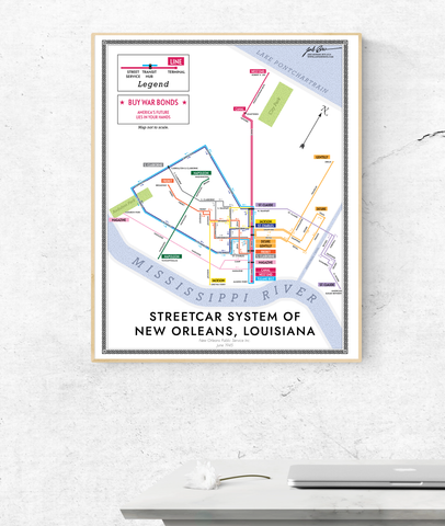 New Orleans streetcar system map print, 1945