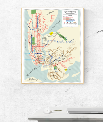 New York City Subway map print, 1939