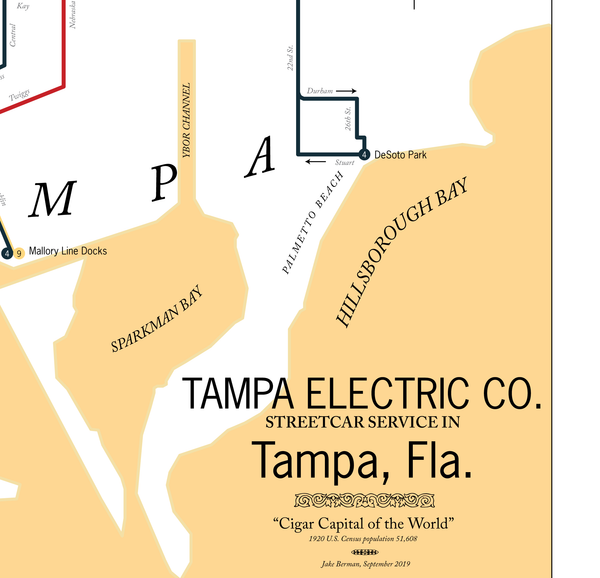 Tampa Electric Co. streetcar system map, 1920