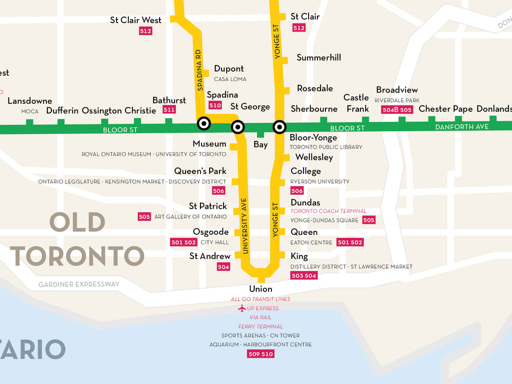 Toronto Subway Map.Toronto Subway Map Print Fifty Three Studio