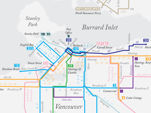 Vancouver, BC historical streetcar system map, 1945