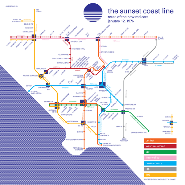 "Los Angeles' ""Sunset Coast Line"" rapid transit proposal, 1976"