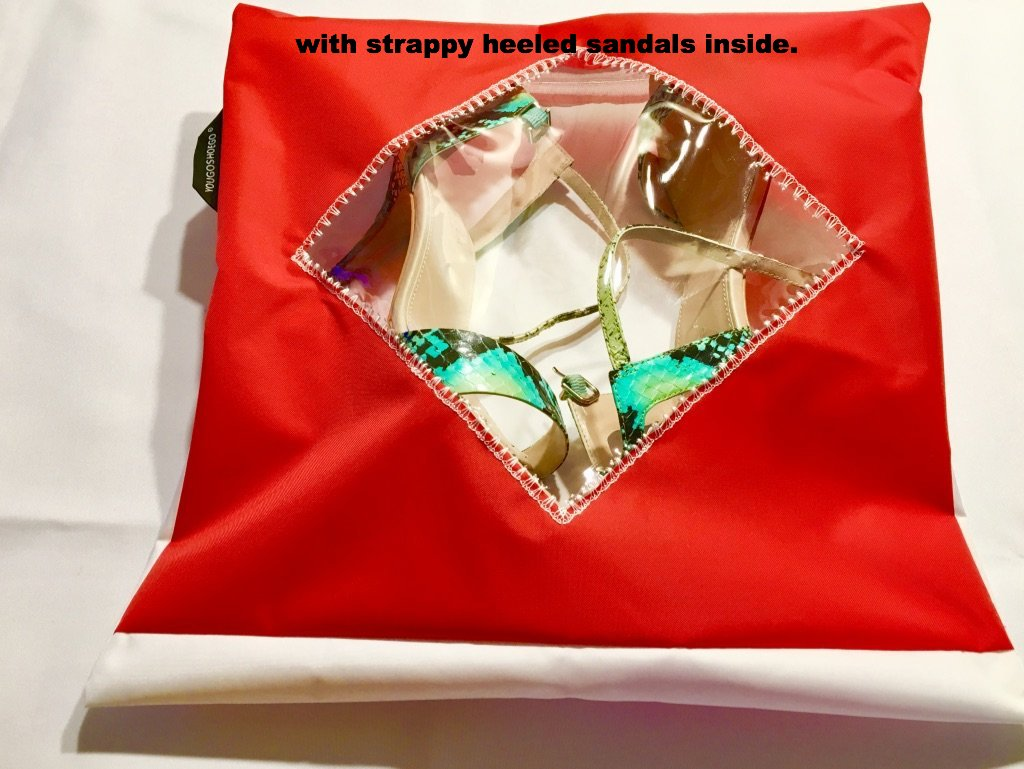 A lovely shoe pouch in red and white with a diamond transparent window.