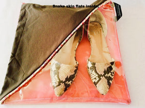 Pretty shoe pouch in brown and pink with a diagonal transparent window.