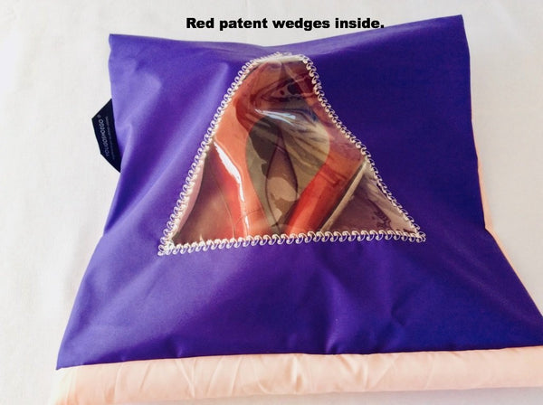 Pretty shoe pouch in purple and peach with a transparent triangular window.