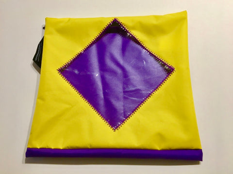 A gorgeous yellow and purple shoe pouch with a transparent diamond shaped window.