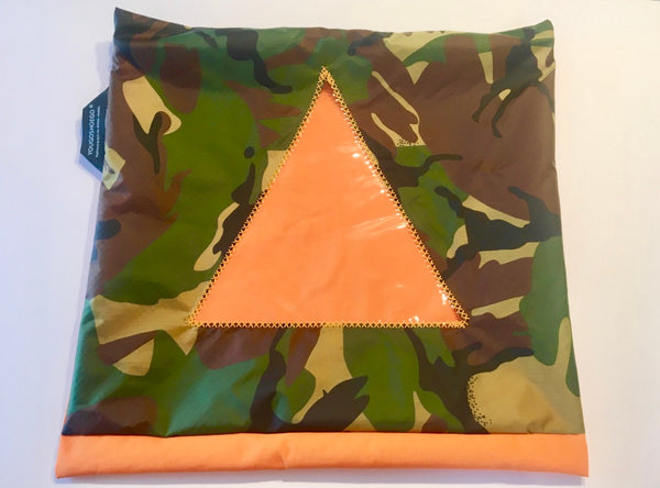 Camouflage patterned shoe pouch with a diagonal window