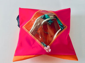 gorgeous pink and orange shoe pouch with a transparent diamond shaped window, hanging loop and zip closure!