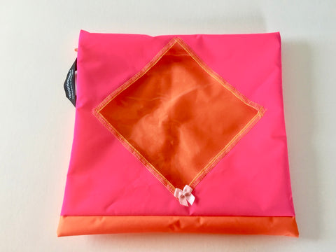 Shoe pouch with a diamond window