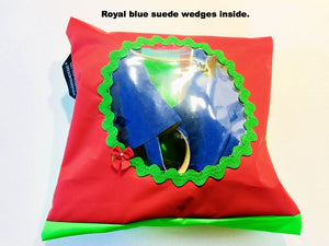 Pretty shoe pouch in red and green with a circular transparent window.