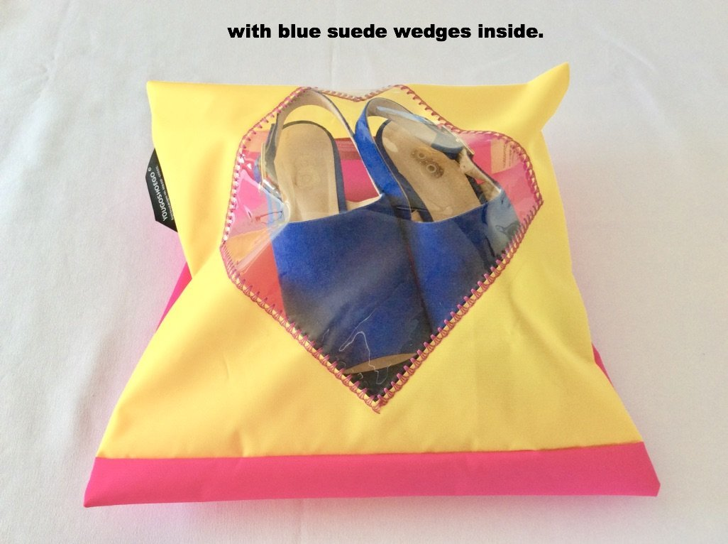 gorgeous shoe pouch in yellow and pink with a diamond transparent window.
