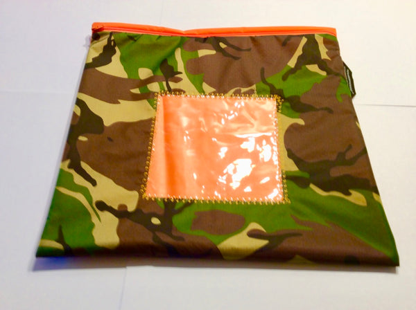 Camouflage patterned pouch with a square window