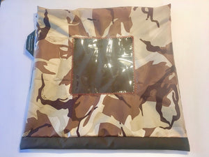 Camouflage patterned shoe pouch with a square window