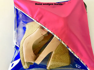 Pretty shoe pouch in pink and purple with a diagonal transparent window.