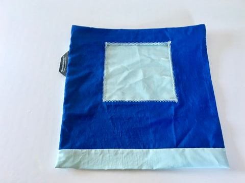 Shoe pouch with a square window.
