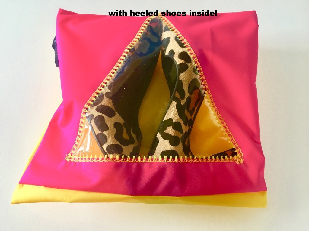 This lovely pouch is pink and yellow with a triangular window!