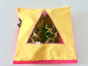 Shoe pouch with a triangular window.
