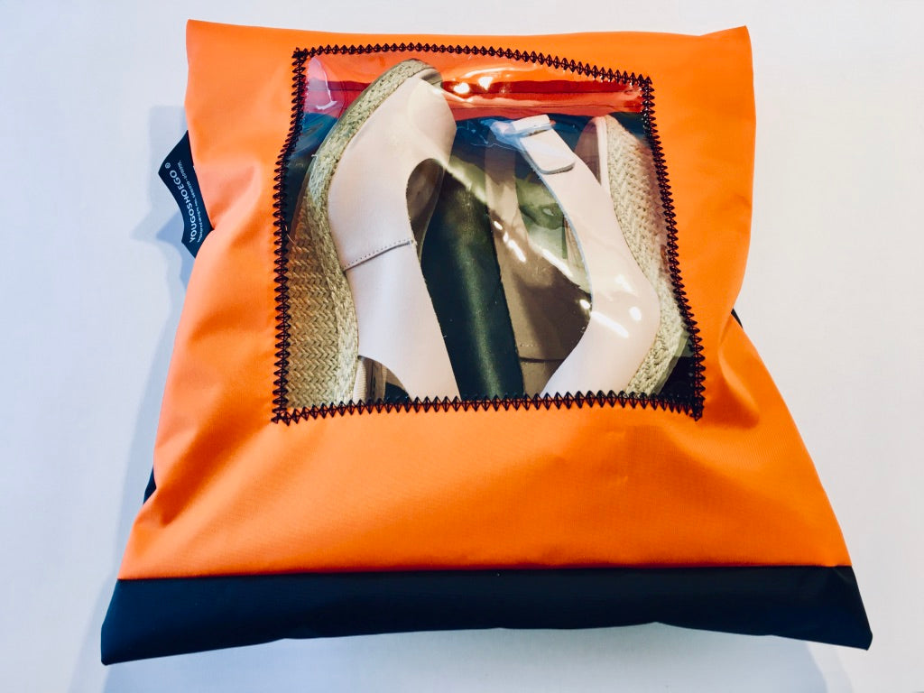 orange and black protective pouch with a square window.