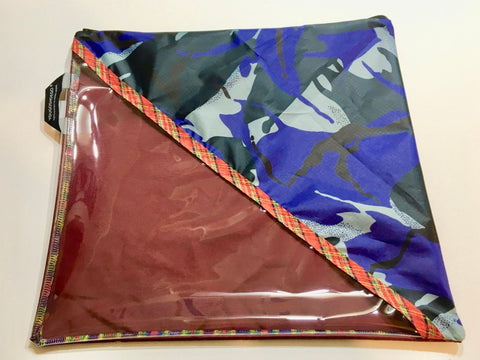 Camouflage patterned pouch with a diagonal window
