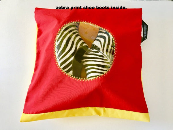 Pretty shoe pouch in red and yellow with a circular transparent window.