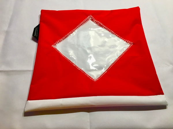 Shoe pouch with a diamond window.