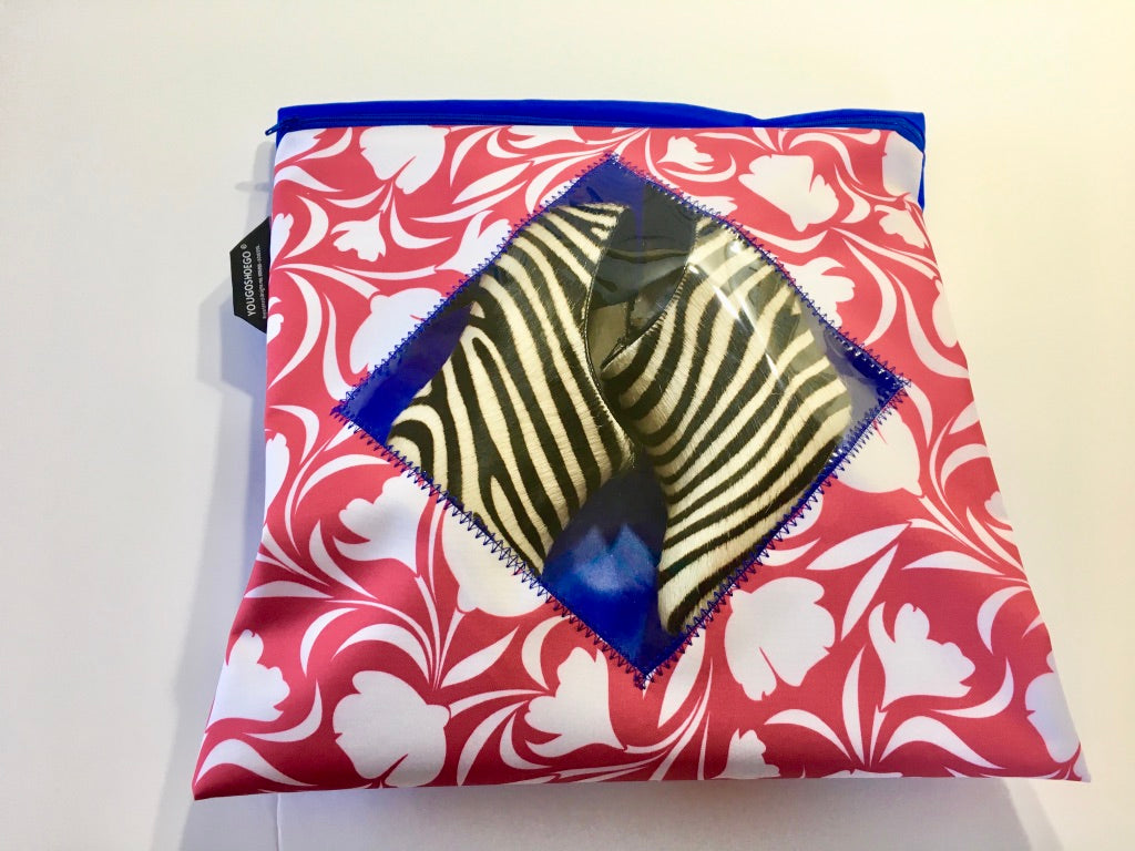 Patterned shoe pouch with a diamond window