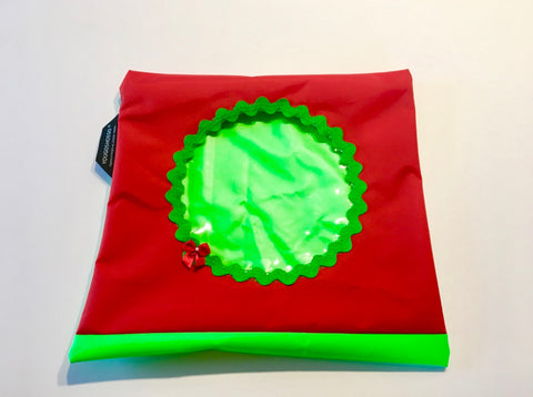 Shoe pouch with a circular window