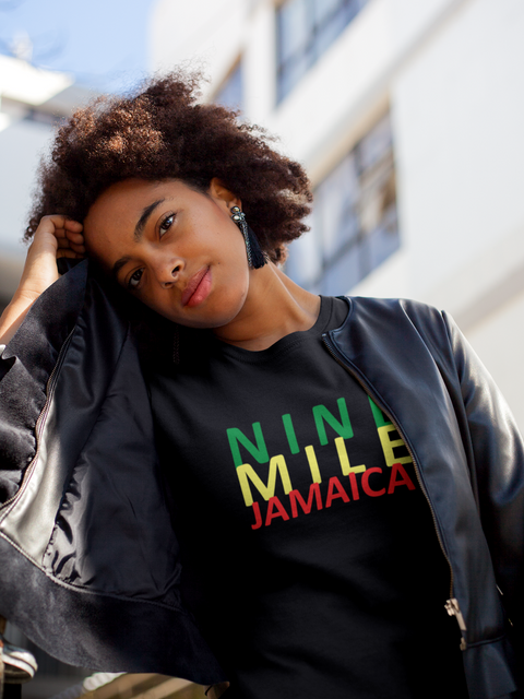 Nine Mile Clothing's Black Jamaica Reggae Stretch t-shirt with front logo in green, yellow and green.