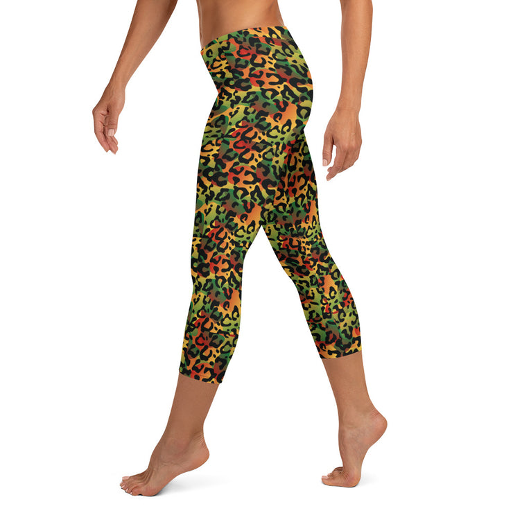 Reggae Army Print Capri Leggings
