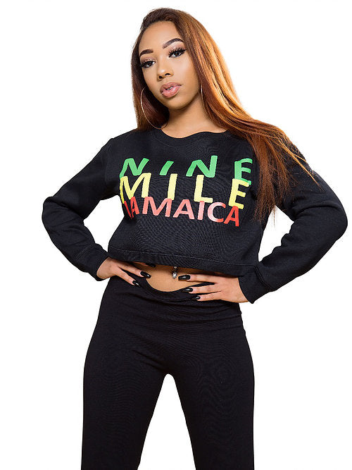 Nine Mile Jamaica Reggae Low Cut Crop Sweatshirt