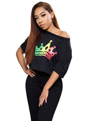 Women's Nine Mile Dancehall Queen Reggae Crown Black Crop Top