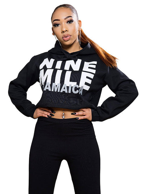 Nine Mile Cropped Graphic Hoodie