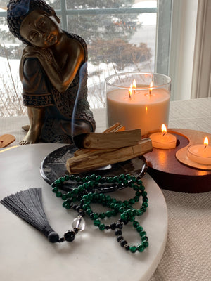 AMBRYN Malachite Mala Necklace for meditation